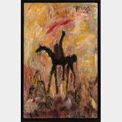 Purvis Young (Florida, 1943-2010)      Figure on Horseback II