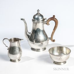 Three-piece Gorham Sterling Silver Coffee Service