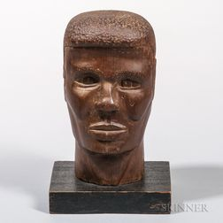 Carved Cedar Bust of an African-American