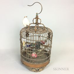 Asian Carved Wood Birdcage with Porcelain Water Pots