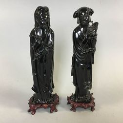 Pair of Black Composite Resin Figures