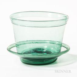 Light Green Glass Flowerpot and Plate
