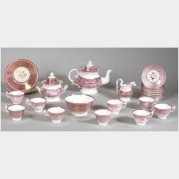 Twenty-five Piece Pink Lustre Porcelain Tea Set