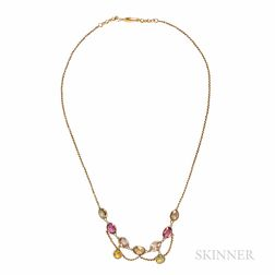 Art Nouveau Gold Gem-set Necklace