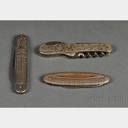 Three American Victorian Novelty Pocket Knives