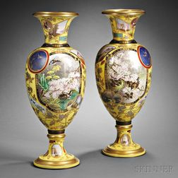 Pair of Aesthetic-style Yellow Ground  Porcelain Palace Vases