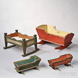 Four Painted-decorated Miniature Cradles