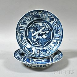 Pair of Blue and White Kraak-style Plates