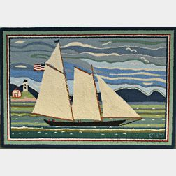 Mounted America's Cup Hooked Rug