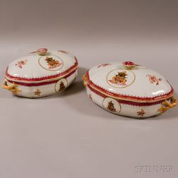 Pair of Armorial Chinese Export Porcelain Covered Vegetable Dishes