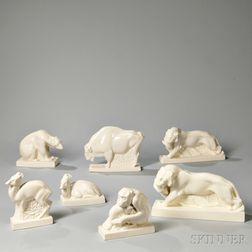 Seven Wedgwood Queen's Ware Animals
