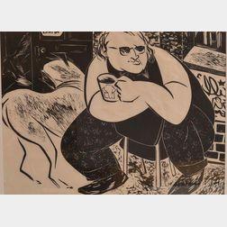 Tsugumi Ota (Japanese/British, 20th/21st Century)      Two Woodcuts: Adam and Eve