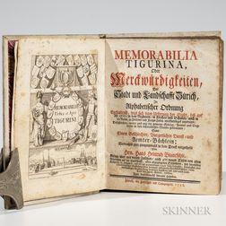 Bluntschli, Hans Heinrich (1656-1722) Memorabilia Tigurina, oder Merckwurdigkeiten, der Stadt und Landschafft Zurich.