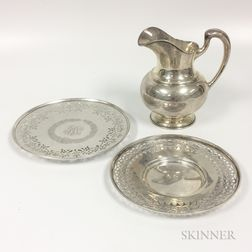 Sterling Silver Water Pitcher and Two Reticulated Cake Plates