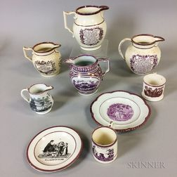Nine Transfer-decorated Pink Lustre Ceramic Items