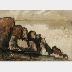 Marsden Hartley (American, 1877-1943)  Rocky Coast  / Possibly a Maine View