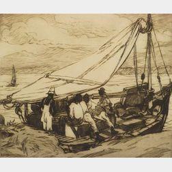 Lot of Three Prints:  George Pearse Ennis (American, 1884-1936), Fishing Boat