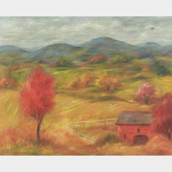 Paul Meltsner (American, 1905-1966)  Red Barn in an Autumn Landscape