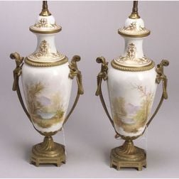 Pair of Louis XVI Style Ormolu Mounted Porcelain Table Lamps