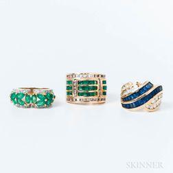 Three 14kt Gold Gem-set Rings