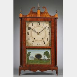 Mahogany Veneer Pillar and Scroll Clock
