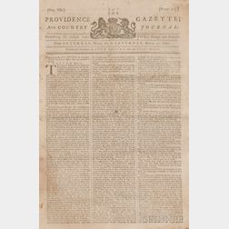 Newspapers, Boston Massacre: Providence Gazette and Country Journal