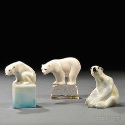 Three Doulton Polar Bears