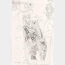 Pablo Picasso (Spanish, 1881-1973)      Peintre devant sa toile, avec un modèle