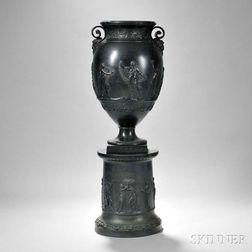 Wedgwood Black Basalt Vase and Pedestal Base