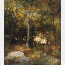 Thomas Moran (American, 1837-1926)      Autumn Woods