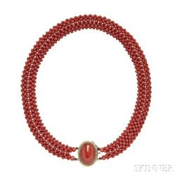 14kt Gold and Coral Necklace, Bracelet, and Earrings