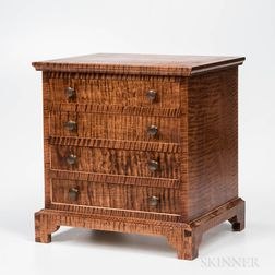 Small Chippendale-style Tiger Maple Four-drawer Cabinet
