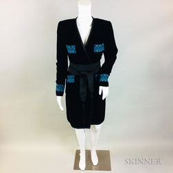 Oscar de la Renta Black Velvet Coat with Electric Blue Embroidery