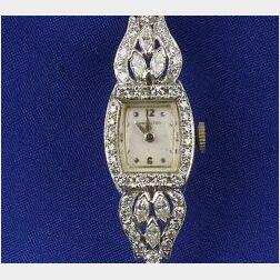 Lady's 14kt White Gold and Diamond Wristwatch