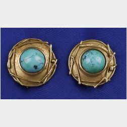 18kt Gold and Turquoise Earrings