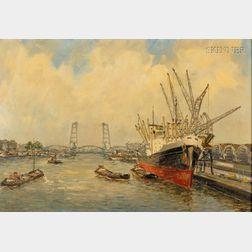 Joop Molenaar (Dutch, 1914-1990)      Bustling Harbor