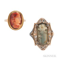 Two Gold and Hardstone Rings
