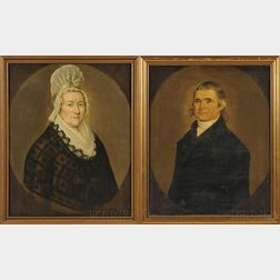 Attributed to William Jennys (American, ac. 1795-1805)      Portraits of Jabez Baldwin and His Wife Lydia.