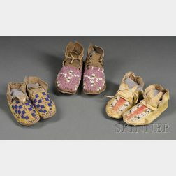 Three Pairs of Plains Infant's Moccasins