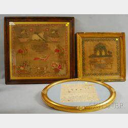 Three Framed 19th Century English Needlework Samplers