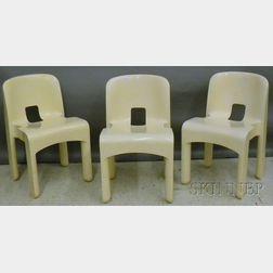 Set of Three Joe Colombo Designed Kartell Binasco White Plastic Chairs