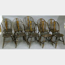 Set of Ten Windsor-style Maple Braced Bow-back Side Chairs