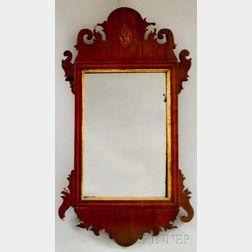 Federal Inlaid Mahogany Veneer Scroll-frame Mirror