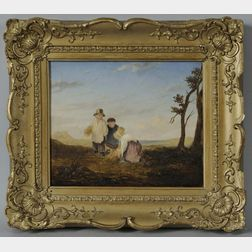 Attributed to William Collins (British, 1788-1847)    The Little Gleaners