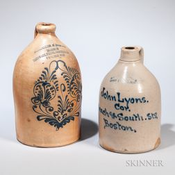 Two Cobalt-decorated Advertising Jugs