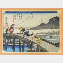 Small Framed Woodblock After Hiroshige