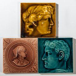 Three Kensington Art Tile Co. Art Pottery Tiles