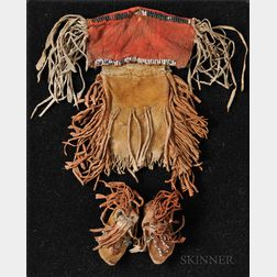 Kiowa or Plains Apache Miniature Beaded Hide Dress and Moccasins