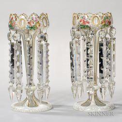 Pair of Bohemian Overlay Glass Girandoles