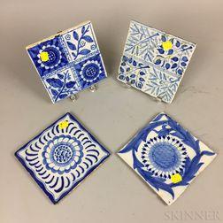 Four Blue and White Ceramic Tiles